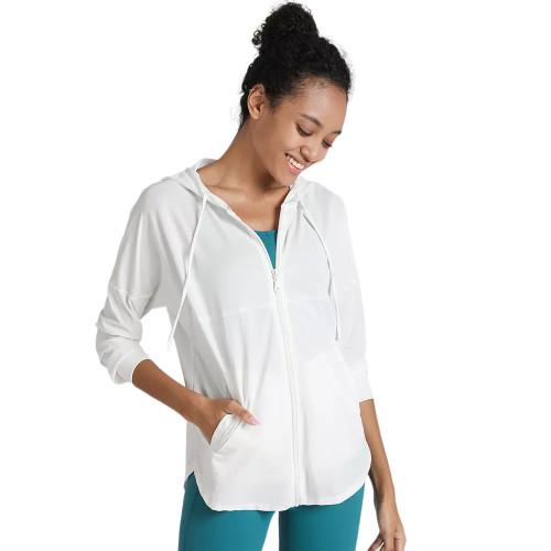 White Quick Dry Drawstring Hooded Yoga Jacket TQE71334-1