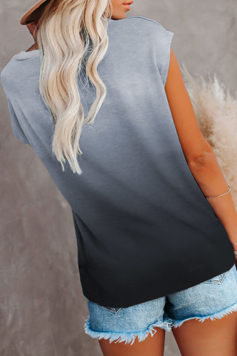Gray Gradient Color Short Sleeve T-Shirt with Pocket LC2527051-11