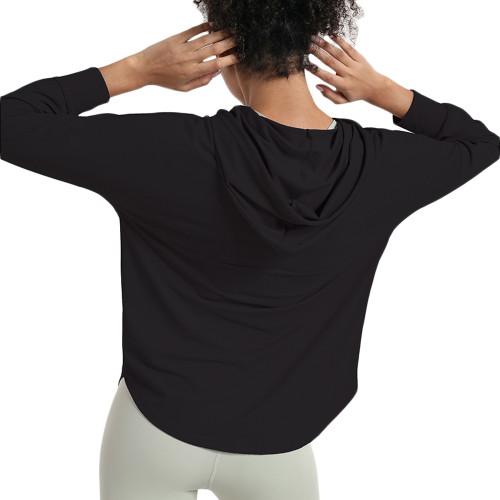 Black Quick Dry Drawstring Hooded Yoga Jacket TQE71334-2