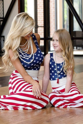 Daughter & Me Matching American Flag Maxi Dress LC614210-19