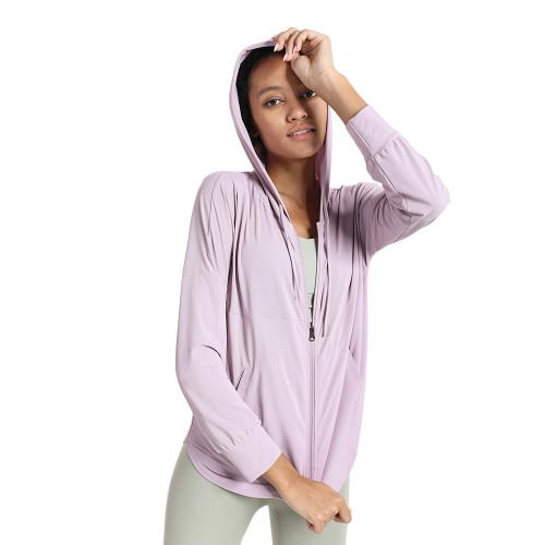 Pink Quick Dry Drawstring Hooded Yoga Jacket TQE71334-10