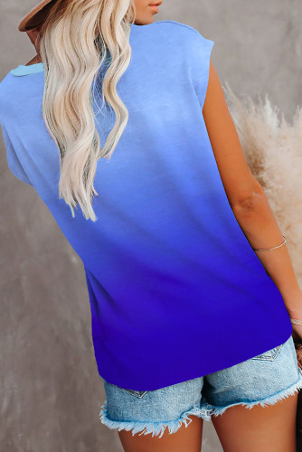 Blue Gradient Color Short Sleeve T-Shirt with Pocket LC2527051-5