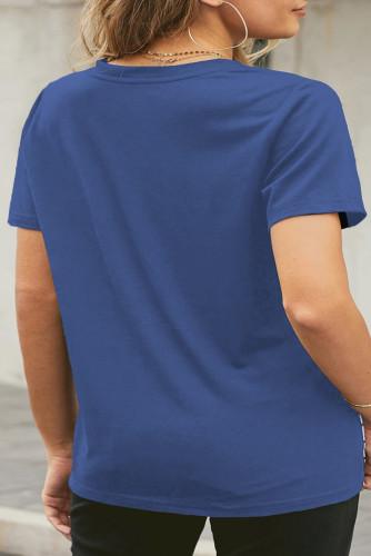 Blue Neon Lips Graphic Plus Size T-shirt LC2522082-5