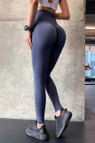 Dark Blue Scrunch Booty High Waist Skinny Yoga Pants LC263944-4