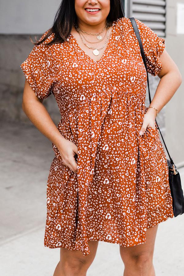 Orange Plus Size V Neck Leopard Print Short Sleeve Mini Dress LC614017-14