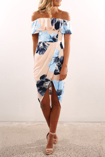 Floral Off-shoulder Ruffle Bodycon Midi Dress with Slit LC614202-14