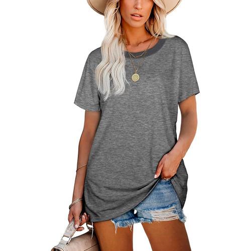 Gray Ribbed Round Neck Loose T-shirt TQK210724-11