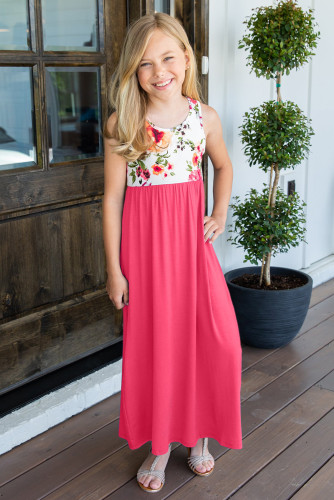Rose Crewneck Sleeveless Floral Patchwork Kids Maxi Dress TZ61133-6