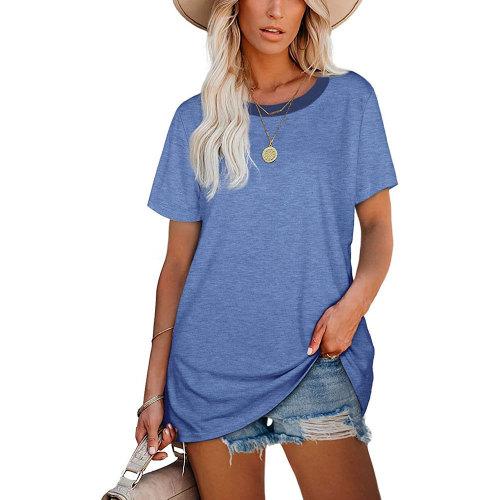 Blue Ribbed Round Neck Loose T-shirt TQK210724-5
