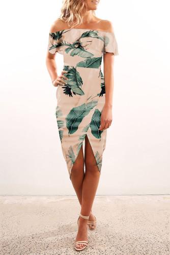 Palm Leaf Off-shoulder Ruffle Bodycon Midi Dress with Slit LC614202-1