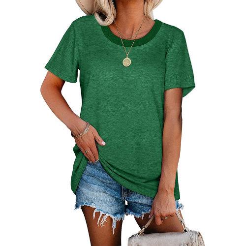 Green Ribbed Round Neck Loose T-shirt TQK210724-9