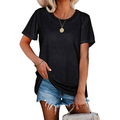 Black Ribbed Round Neck Loose T-shirt TQK210724-2