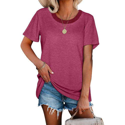 Purple Red Ribbed Round Neck Loose T-shirt TQK210724-32
