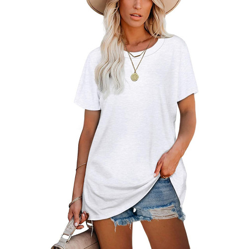 White Ribbed Round Neck Loose T-shirt TQK210724-1