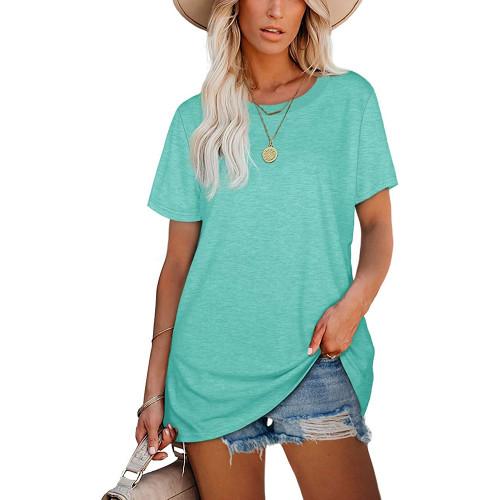 Aquamarine Ribbed Round Neck Loose T-shirt TQK210724-45