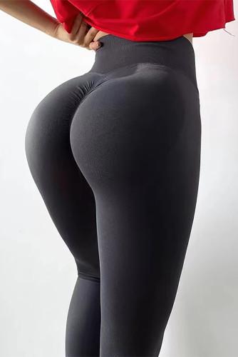 Gray Scrunch Booty High Waist Skinny Yoga Pants LC263944-11