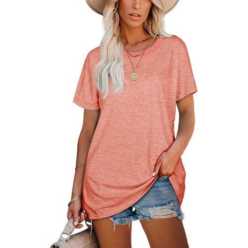 Tangerine Ribbed Round Neck Loose T-shirt TQK210724-45