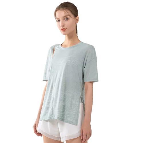 Blue Side Split Short Sleeve Yoga Tees TQE191252-5