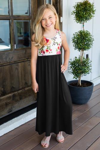 Black Crewneck Sleeveless Floral Patchwork Kids Maxi Dress TZ61133-2