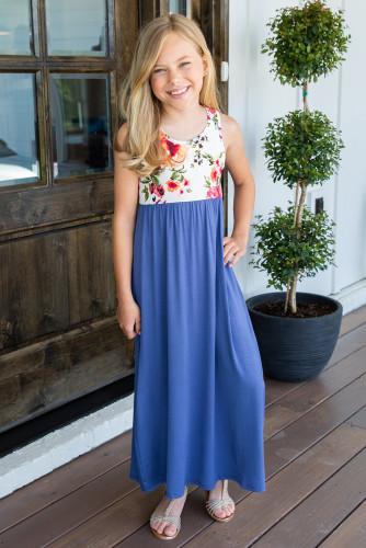Blue Crewneck Sleeveless Floral Patchwork Kids Maxi Dress TZ61133-5