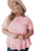Pink Plus Size Mock Neck Swiss Dot Ruffled Short Sleeve Top LC2517422-10
