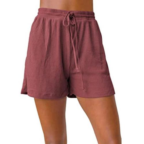 Rust Red Ribbed Drawstring Casual Shorts TQK530018-33