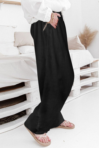 Black High Waist Drawstring Wide Legs Casual Pants LC771407-2