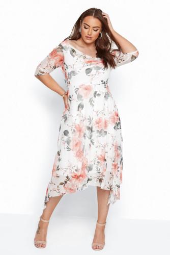 White Plus Size Crewneck Half Sleeve Floral Midi Dress LC613583-1