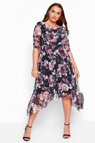 Black Plus Size Crewneck Half Sleeve Floral Midi Dress LC613583-2