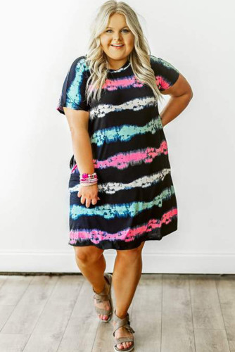 Striped Tie-dyed Plus Size Mini Dress LC614224-19