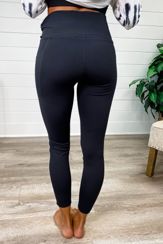 Black Tummy Control Sports Leggings with Cellphone Pocket LC76284-2