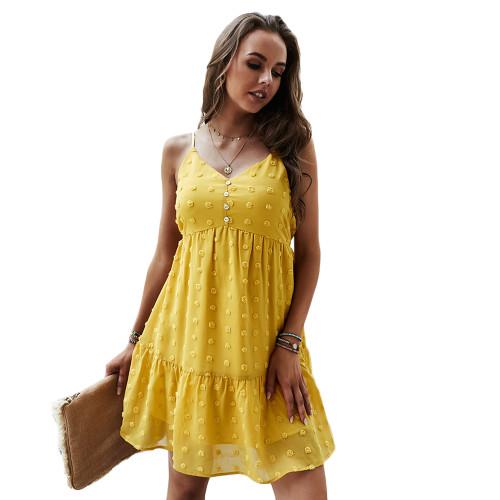Yellow Swiss Dot Button Detail Casual Dress TQK310563-7