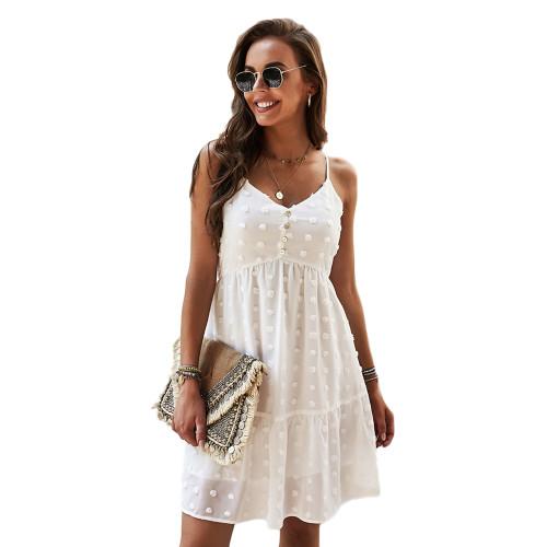 White Swiss Dot Button Detail Casual Dress TQK310563-1