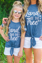 Family Matching Kid's Land of THE Free Striped Sleeve Knot Hem Tee TZ25315-5