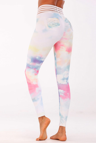 Tie-dyed Mesh Patch High Waist Legging LC263823-22