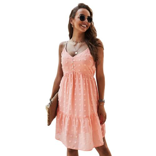 Orange Swiss Dot Button Detail Casual Dress TQK310563-14