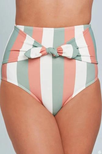 Multicolor Stripes Print Front Tie High Waist Bikini Bottoms LC472107-19