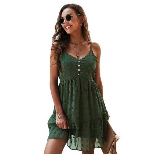 Army Green Swiss Dot Button Detail Casual Dress TQK310563-27