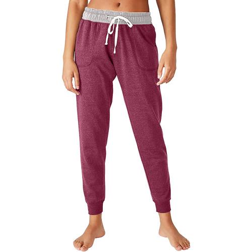 Purple Red Colorblock Drawstring Casual Pants TQK530031-32