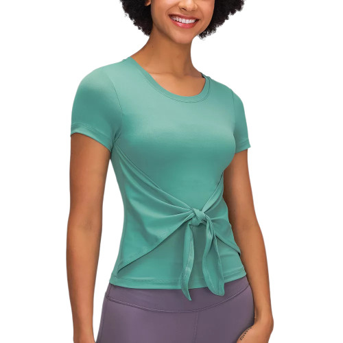 Green Front Bowknot Short Sleeve Yoga Tops TQE71329-9