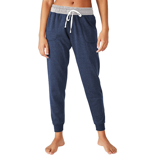 Navy Blue Colorblock Drawstring Casual Pants TQK530031-34