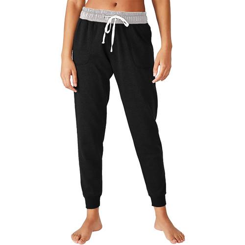 Black Colorblock Drawstring Casual Pants TQK530031-2
