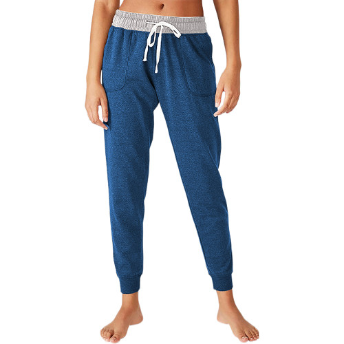 Blue Colorblock Drawstring Casual Pants TQK530031-5