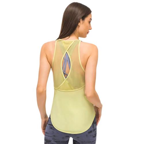 Light Yellow Back Mesh Quick Dry Sleeveless Yoga Tops TQE71331-42