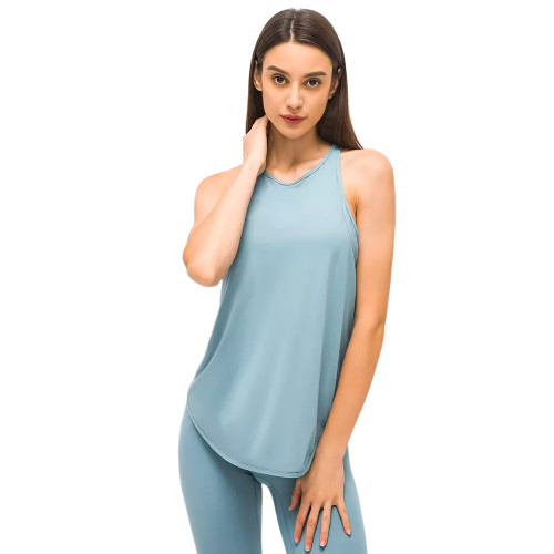 Ice Blue Back Mesh Quick Dry Sleeveless Yoga Tops TQE71331-215