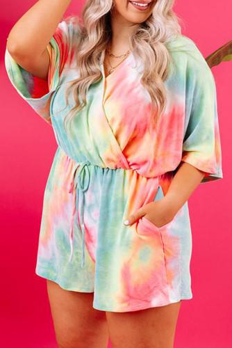 Multicolor Tie Dye Plus Size Romper LC641390-22