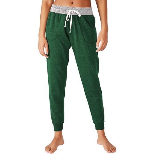 Green Colorblock Drawstring Casual Pants TQK530031-9