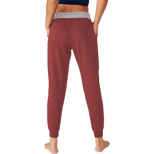 Red Colorblock Drawstring Casual Pants TQK530031-3