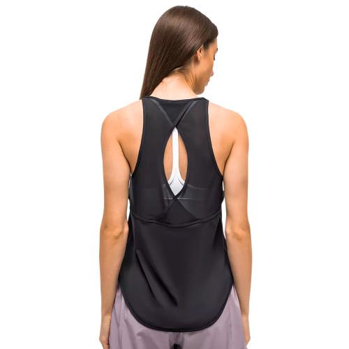 Black Back Mesh Quick Dry Sleeveless Yoga Tops TQE71331-2