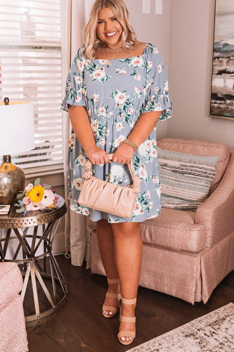 Square Neck Floral Plus Size Mini Dress LC614375-4